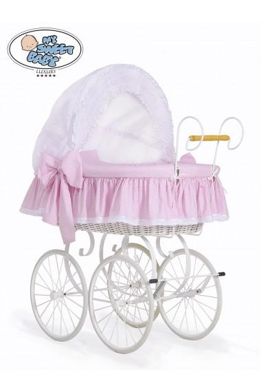 Cuna moisés bebé de mimbre Vintage Retro - Rosa